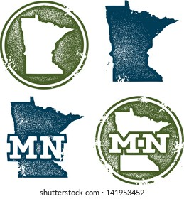 Minnesota State Distressed Vector Outline Stamps