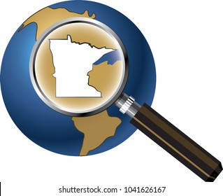 Minnesota State Map Enlarged with Magnifying Glass on Globe