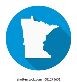 Minnesota state map flat icon with long shadow EPS 10 vector illustration.