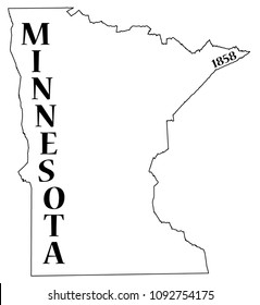 A Minnesota state outline with the date of statehood isolated on a white background