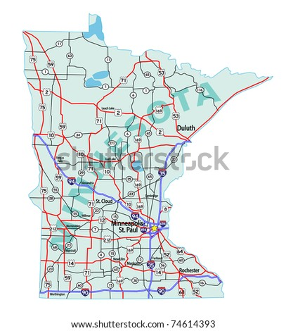 Minnesota State Road Map Interstates US Stock Vector (Royalty Free ...