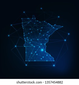 Minnesota state USA map glowing silhouette outline made of stars lines dots triangles, low polygonal shapes. Communication, internet technologies concept. Wireframe futuristic vector illustration