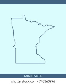 Minnesota state of USA map vector outline illustration in blue background