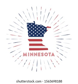 Minnesota sunburst badge. The us state sign with map of Minnesota with American flag. Colorful rays around the logo. Vector illustration.
