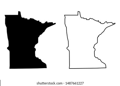 Minnesota US State Blank Map Black Solid Color and Outline Vector Isolated On White Background