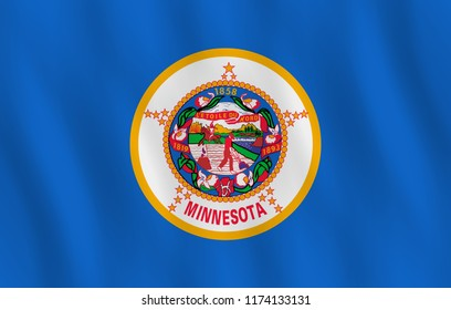 Minnesota US state flag with waving effect, official proportion.