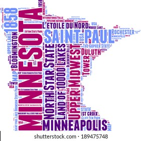Minnesota USA state map tag cloud vector illustration