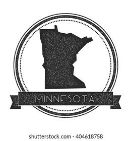 Minnesota vector map stamp. Retro distressed insignia with US state map. Hipster round rubber stamp with Minnesota state text banner, USA state map vector illustration.