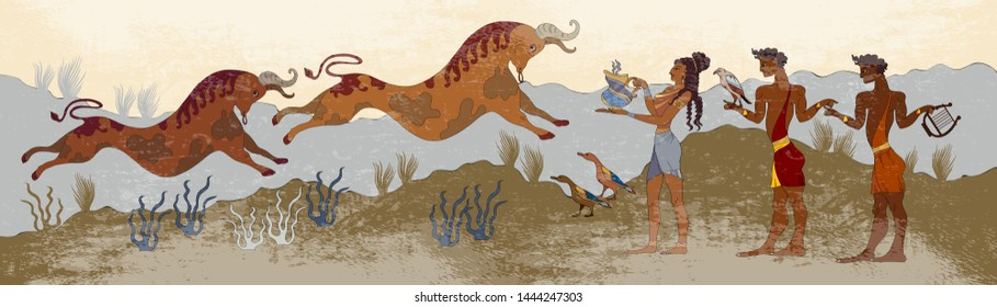 Minoan civilization. Ancient Greece frescos. Jumping bulls and people. Ancient Crete. Heraklion. Knossos murals mythology