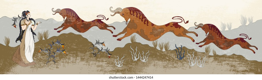 Minoan civilization. Ancient Greece frescos. Jumping bulls and goddesses. Ancient Crete. Heraklion. Knossos murals mythology