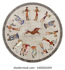 Minoan civilization. Ancient Greece frescos. Jumping bulls and goddesses. Ancient Crete. Heraklion. Cicrcle Knossos murals mythology