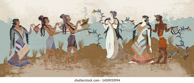 Minoan civilization. Ancient Greece frescos. Ancient Crete. Heraklion. Knossos murals mythology