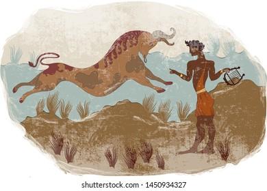 Minoan civilization. Ancient Greece frescos. Jumping bull. Knossos murals mythology. Crete. Heraklion