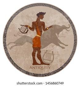 Minoan civilization. Ancient Greece frescos. Slave and jumping bull. Knossos murals mythology. Crete. Heraklion