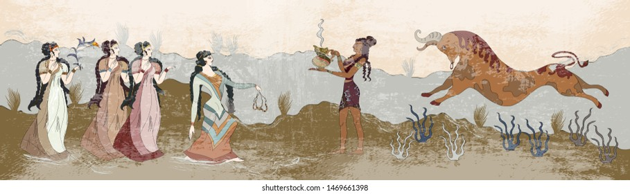 Minoan civilization. Ancient Greece frescos. Jumping bulls and people. Knossos murals mythology. History of Crete. Heraklion