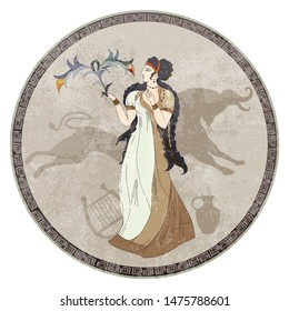 Minoan civilization. Ancient Greece frescos. Goddess and bull. Crete history. Heraklion. Knossos murals mythology