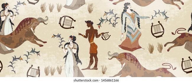Minoan civilization seamless pattern. Ancient Greece frescos. Jumping bulls and goddesses. Ancient Crete culture. Heraklion. Knossos murals mythology