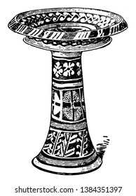 Minoan Pottery is a large Minoan vase, it is more than a useful tool for dating the mute Minoan civilization, vintage line drawing or engraving illustration.