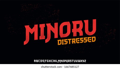 minoru, the Japanese or Chinese  style font with grunge distressed texture font