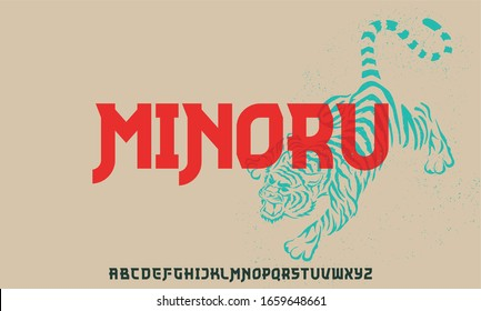 minoru, Modern geometric font inspired by Asian or Japanese typography.  vector type set