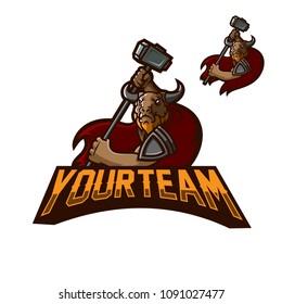 minotaur holding hammer esport gaming mascot logo template