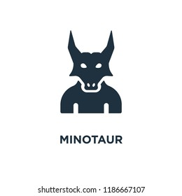 Minotaur icon. Black filled vector illustration. Minotaur symbol on white background. Can be used in web and mobile.