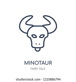 Minotaur icon. Minotaur linear symbol design from Fairy tale collection. Simple outline element vector illustration on white background.