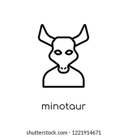 Minotaur icon. Trendy modern flat linear vector Minotaur icon on white background from thin line Fairy Tale collection, editable outline stroke vector illustration