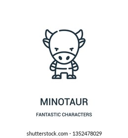 minotaur icon vector from fantastic characters collection. Thin line minotaur outline icon vector illustration. Linear symbol for use on web and mobile apps, logo, print media.