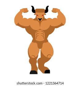 Minotaur isolated. Strong man bull. Mythical powerful monster