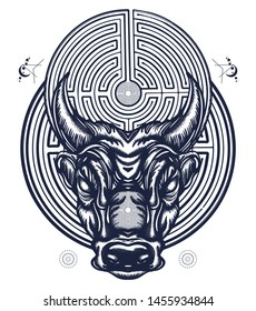 Minotaur and labyrinth tattoo and t-shirt design. Angry bull head. Myths of Ancient Greece, Minoan civilization