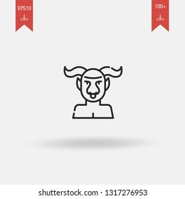 Minotaur linear vector icon. Modern outline Minotaur logo concept on white background from Greek Mythology collection. Suitable for use on web apps, mobile apps and print media.