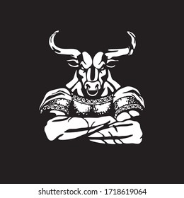 Minotaur - mythical fabulous creature in Ancient Greek mythology character. Half man with bulls head. Hand drawn sketch. White silhouette on black background. Isolated vector illustration