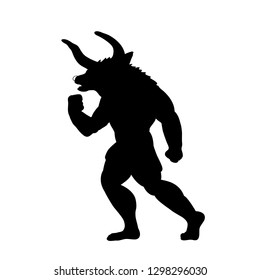 Minotaur silhouette ancient mythology fantasy