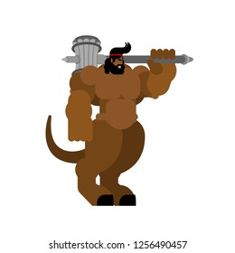 Minotaur strong. Powerful half human half bull. Mythical Monster with weapons