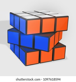 Minsk, Belarus, 23 May 2018 . Editorial vector illustration. Rubik s Cube is a 3D combination puzzle invented in 1974 by Hungarian sculptor and professor of architecture Erno Rubik