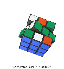Minsk, Belarus,  4 February  2018 .  Editorial vector  illustration.  Rubik's Cube is a 3D combination puzzle invented in 1974 by Hungarian sculptor and professor of architecture Erno Rubik