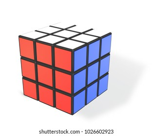 Minsk, Belarus, 8 February 2018 . Editorial vector illustration. Rubik s Cube is a 3D combination puzzle invented in 1974 by Hungarian sculptor and professor of architecture Erno Rubik
