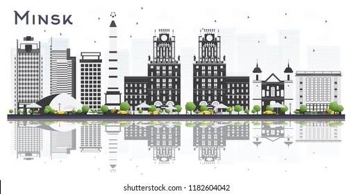 Minsk Belarus City Skyline with Gray Buildings and Reflections Isolated on White Background. Vector Illustration. Business Travel and Tourism Concept. Minsk Cityscape with Landmarks.