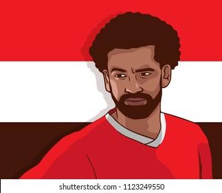 Minsk, Belarus - June 29, 2018: Mohamed Salah Ghaly.  Egyptian professional footballer. Vector illustration