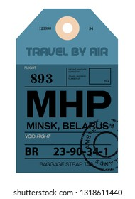 Minsk realistically looking airport luggage tag