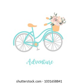mint bicycle with flowers