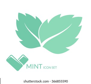 Mint. Chewing gum. Isolated leaves on white background. Vector illustration