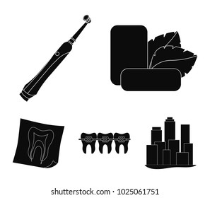 Mint chewing gum with mint leaves, toothbrush with bristles, bregettes with teeth, X-ray of the tooth. Dental care set collection icons in black style vector symbol stock illustration web.