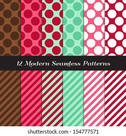 Mint, Chocolate with Raspberry and Strawberry Pinks Jumbo Polka Dot and Candy Stripe Seamless Patterns. Modern Christmas background. Pattern Swatches made with Global Colors.