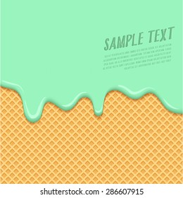 Mint Cream Melted on Wafer Background : Vector Illustration