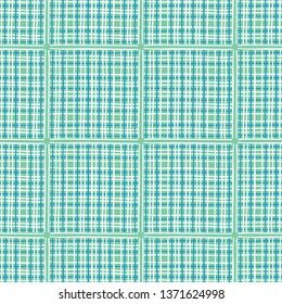 Mint green geometric check seamless pattern. Gingham plaid all over print vector background. Pretty summer 1950s fashion style. Trendy scrapbook paper, modern wallpaper, gender neutral home decor.