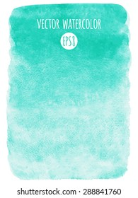 Mint green gradient watercolor vector background. Hand drawn texture. Rough, artistic edges.