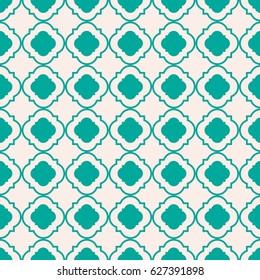 Mint Green traditional geometric quatrefoil pattern wallpaper. Vector textile rug or carpet background.