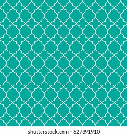 Mint Green traditional geometric quatrefoil pattern wallpaper. Vector textile rug or carpet background.